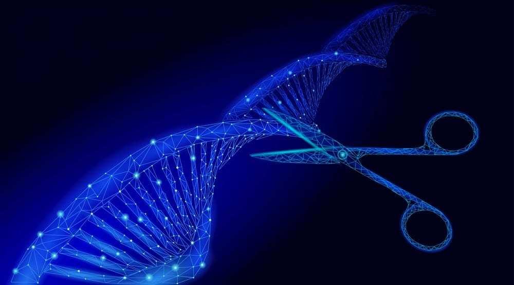 Illustration of scissors cutting DNA strand, blue geometric on black background