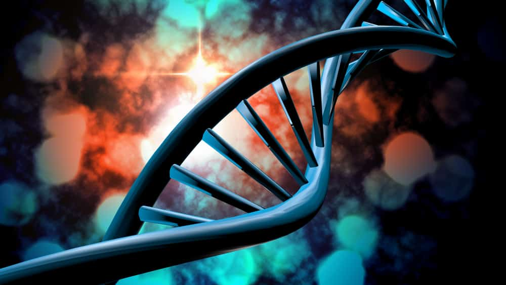 Graphic DNA strand on multicolor background