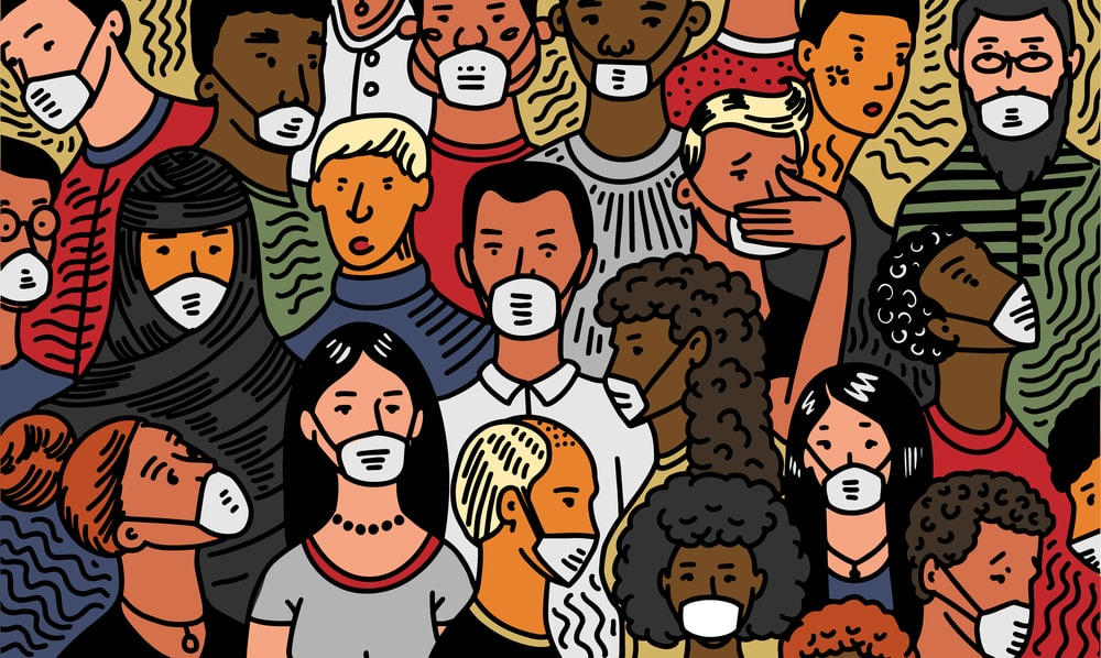 Illustration-of-crowd-of-people-most-wearing-masks